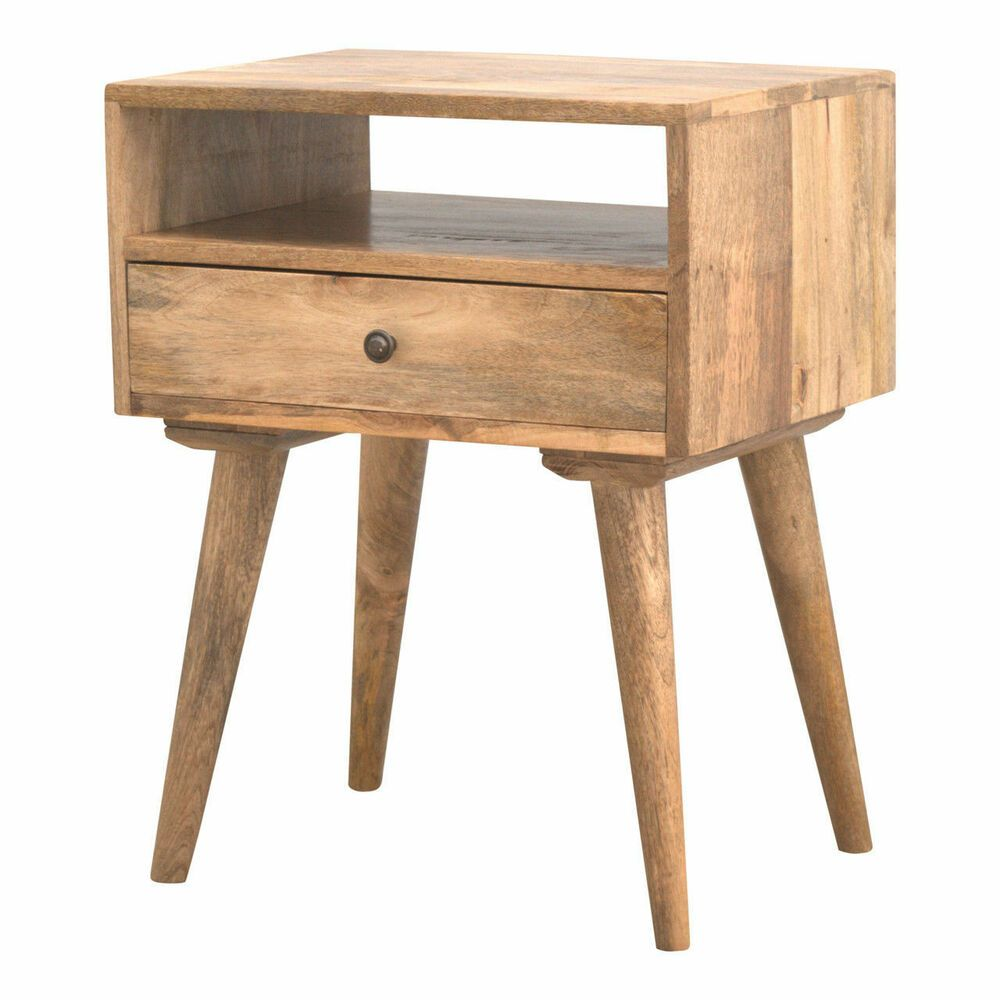 This Beautifully Designed Bedside Is Constructed From 100 Solid Mango Wood And Has A Fine Oak Ish F Solid Wood Bedside Tables Bedside Table Solid Wood Bedside