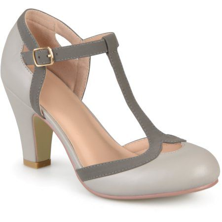 6a2c9670486 Women s Medium and Wide Width Cut Out Round Toe T-strap Two-tone Matte Mary  Jane Pumps