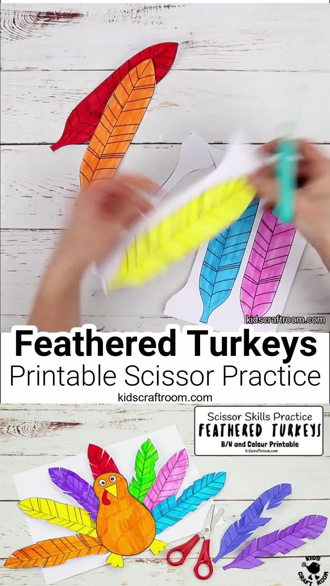 Feathered Turkey Craft and Scissor Practice