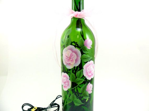 Lighted Wine Bottle Pink Roses MADE TO ORDER Hand Painted 750