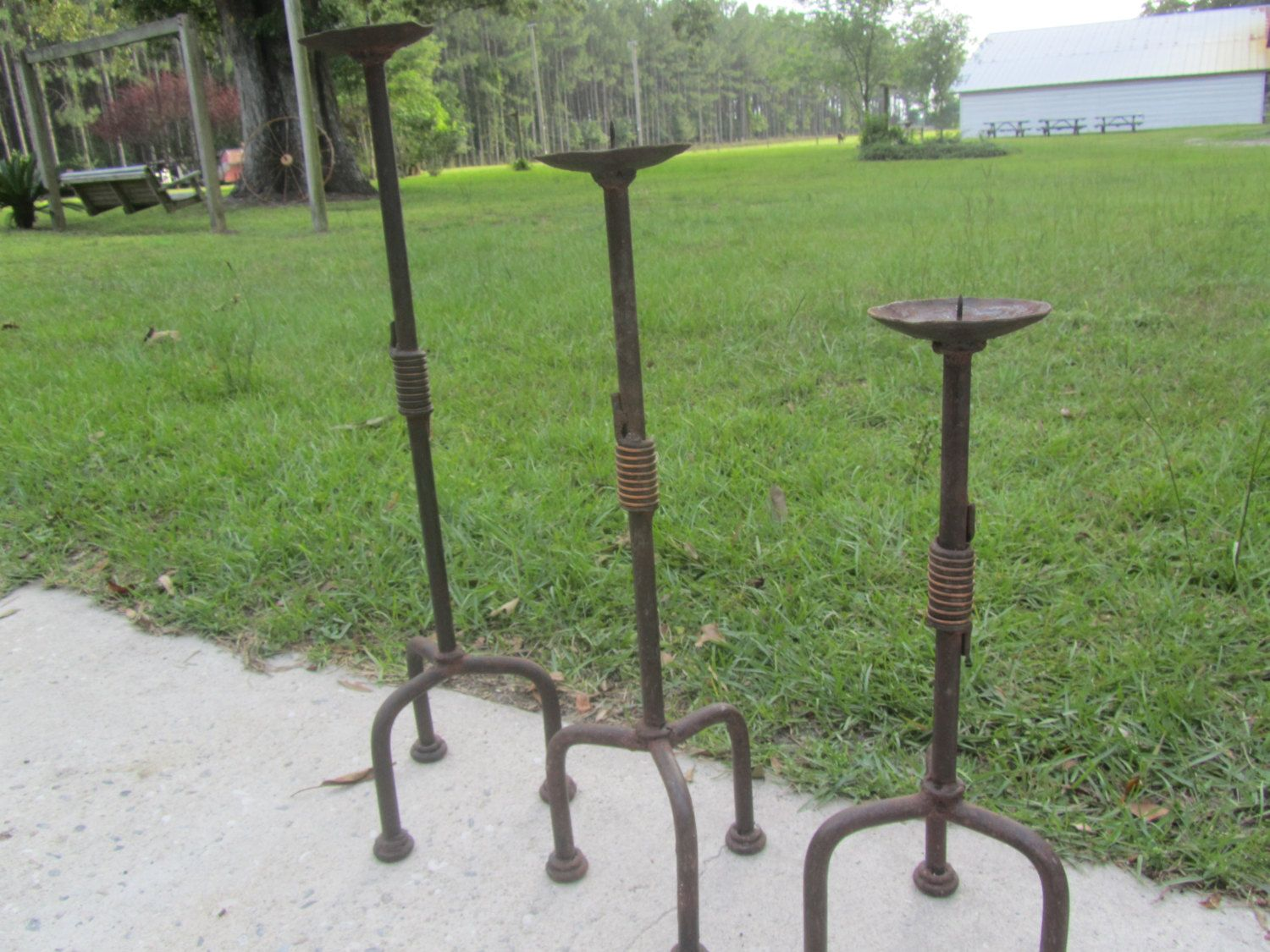 Antique Hand Forged Candle Holders Wrought Iron Candle Holder