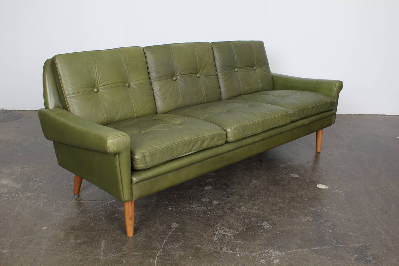 Mid Century Modern Green Leather Sofa By Skippers Mobler Sofa
