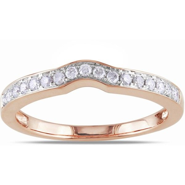 Miadora 14k Rose Gold 1/4ct TDW Diamond Wedding Band (3.465 DKK) ❤ liked on Polyvore featuring jewelry, rings, white, wide band rings, rose gold wedding rings, diamond band ring, engagement rings and wedding band ring