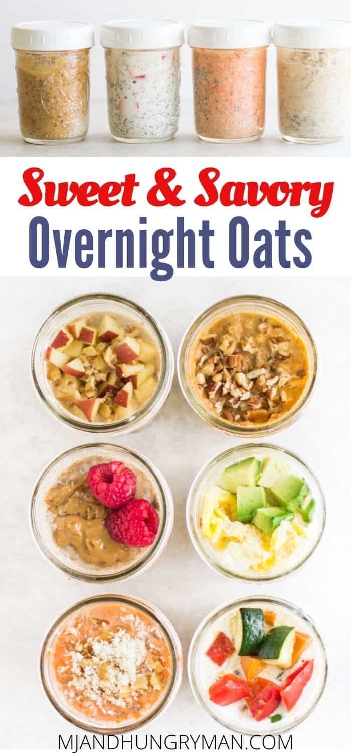 Here's everything you need to know to make healthy and delicious overnight oats or quinoa. It's the perfect make-ahead breakfast, and I've included a base recipe for sweet and savory versions PLUS 6 recipes to help get you started! #overnightoats #breakfastrecipe #easyrecipe #kidfriendly #babyfood #toddlerfood #makeahead #pumpkinrecipe #oats