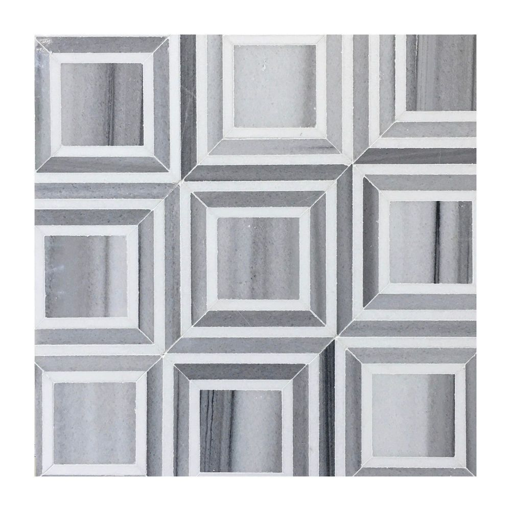 White Square Tile Bathroom contemporary floor tile white & grey marble bathroom shower
