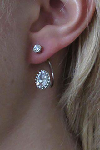 Cubic Zirconia Lobe Cuff Silver Earrings