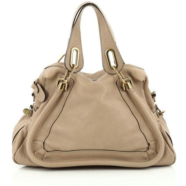 Pre-Owned Chloe Paraty Top Handle Bag Leather Medium ($870) ❤ liked on Polyvore featuring bags, handbags, brown, multi colored leather handbags, colorful purses, genuine leather handbags, top handle bags and leather top handle bag