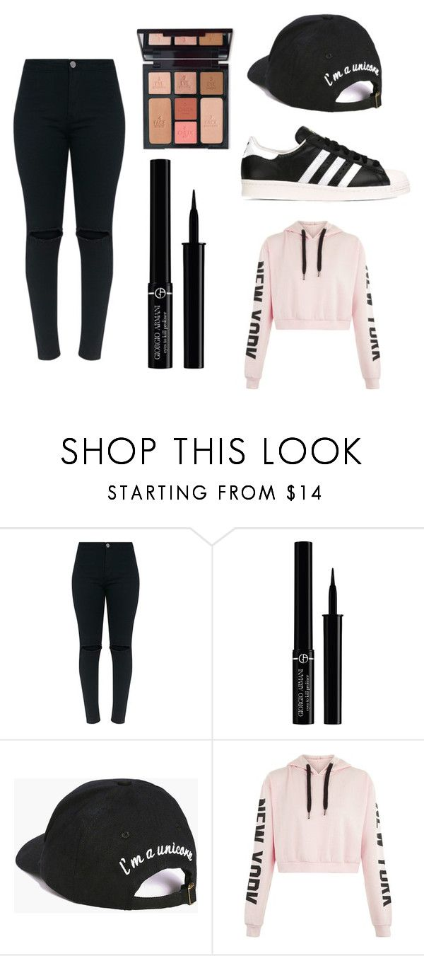 """""""Casual Baby💎"""" by queen785 ❤ liked on Polyvore featuring Giorgio Armani, Charlotte Tilbury, Boohoo and adidas Originals"""