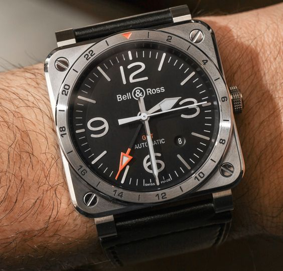 "Bell & Ross BR 03-93 GMT Watch Hands-On - by Ariel Adams - At 42mm wide, B&R is a little smaller than usual. Check out this GMT at: aBlogtoWatch.com - ""Look closely, and you'll notice a new GMT watch from Bell & Ross for 2016. I've appreciated the brand's refined and legible GMT watches for a while, and this newest model is actually a melding of various watches from the brand's modern history. So now let's take a look at the Bell & Ross BR 03-93 GMT..."""