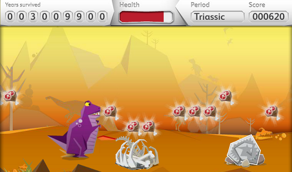 A fun dinosaur flash game. Players avoid obstacles while choosing the best  way for their