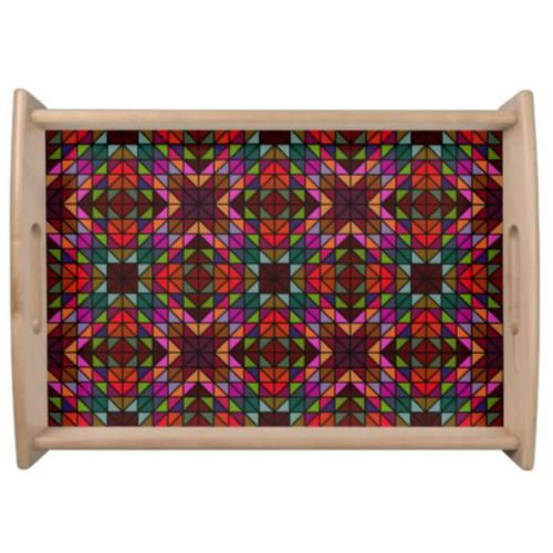 Multicolor glass mosaic serving tray $66.25 *** Seamless colorful triangle mosaic pattern design - serving tray
