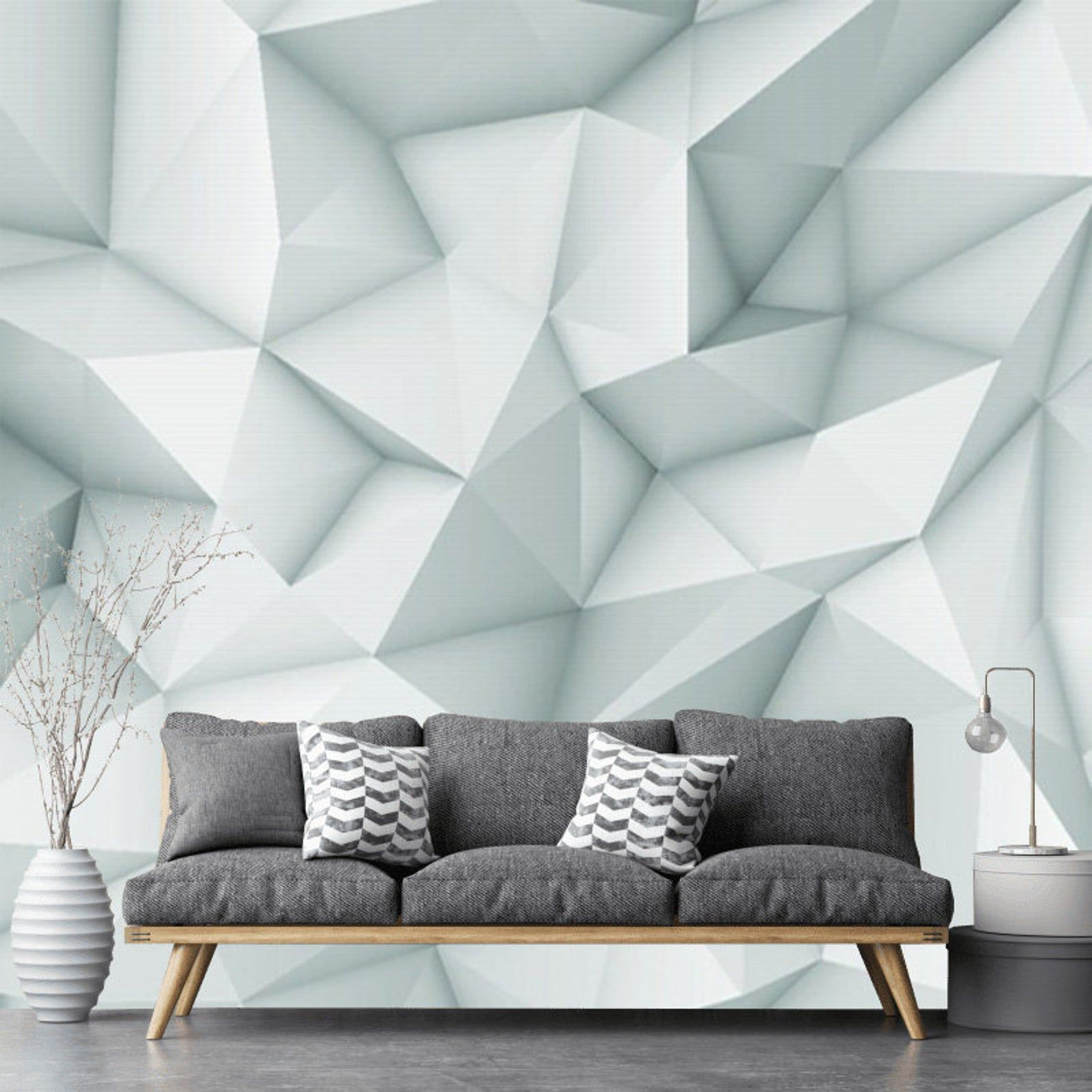 Modern Removable Geometric 3d Wallpaper Mural Peel And Stick Etsy In 2020 Modern Wallpaper Accent Wall Geometric Wallpaper Wallpaper Accent Wall