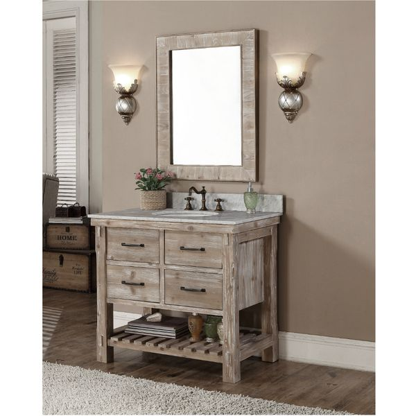 accos 36 inch rustic bathroom vanity quartz white marble top give