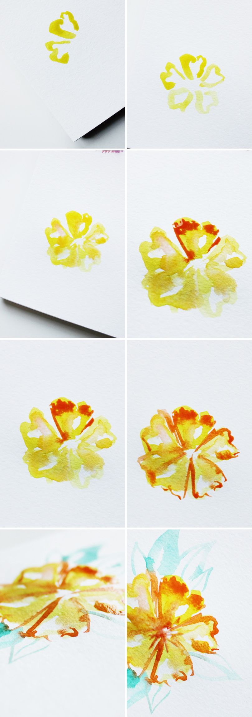 Yellow Watercolor Flower Easy Watercolor Paintings Watercolor