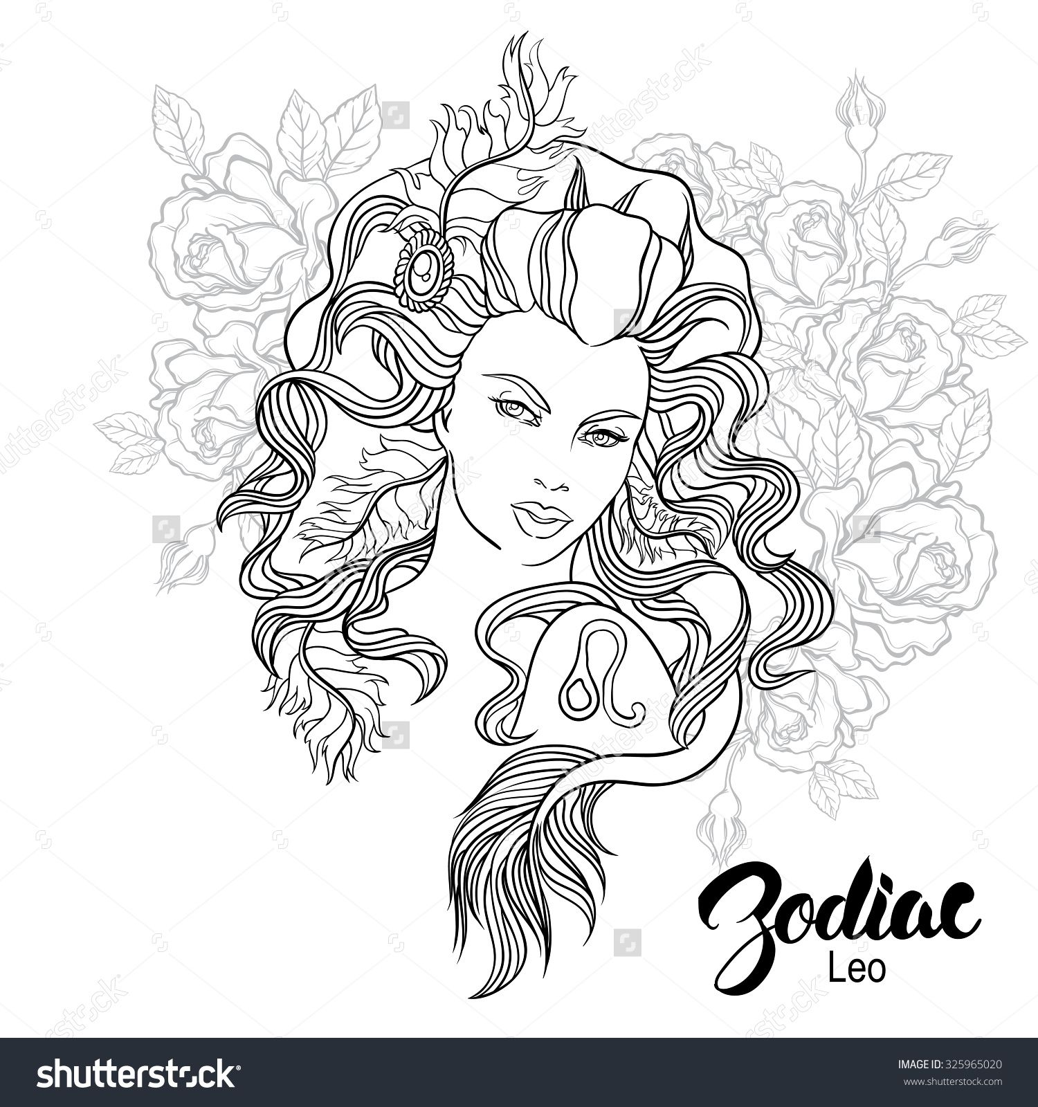 Zodiac Leo Girl Coloring Page Shutterstock 325965020 Floral