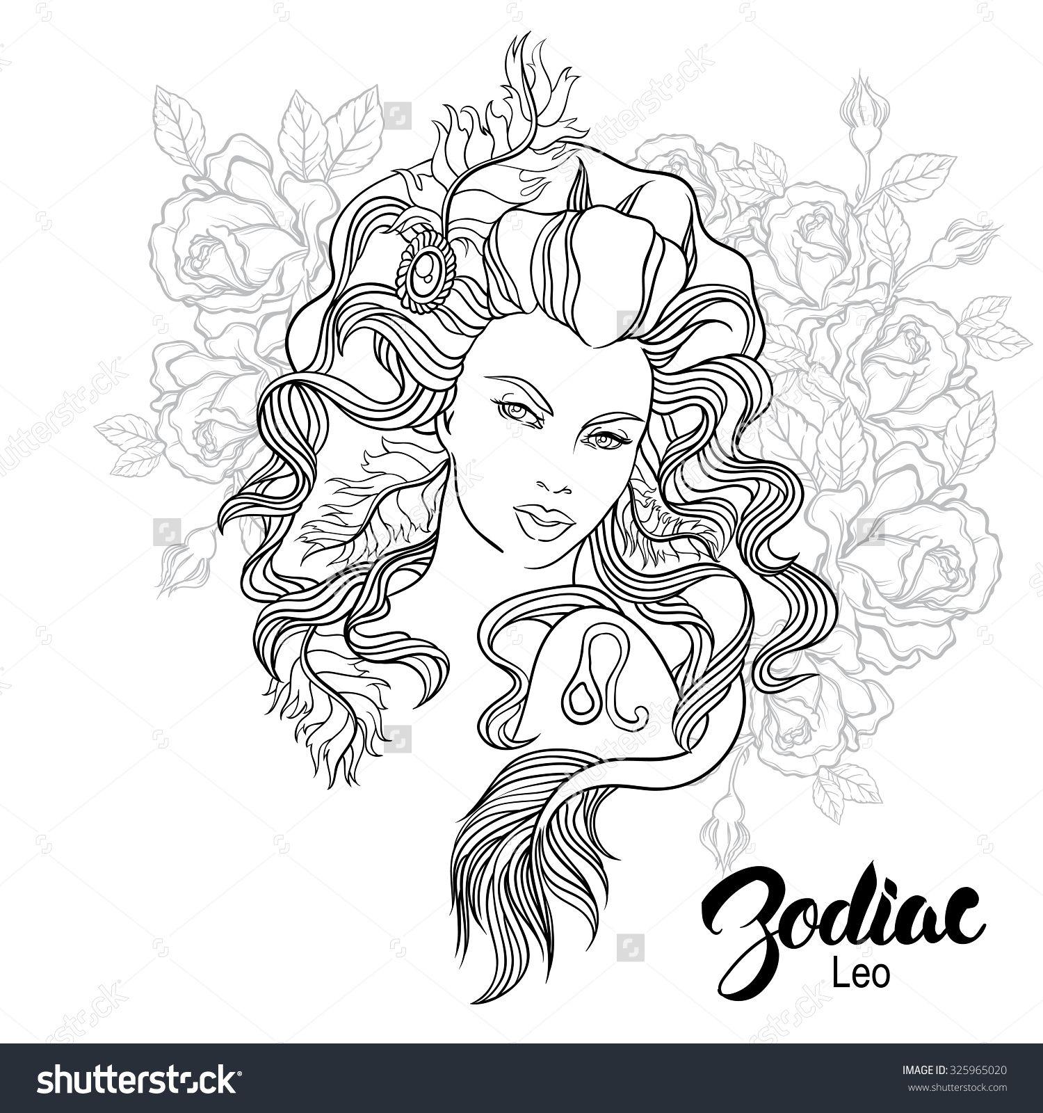 Zodiac Leo Girl Coloring Page Shutterstock 325965020 Knizhka