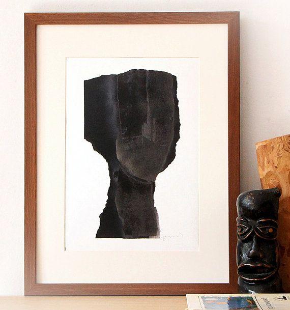 Figurative Black Artwork Simple Contemporary Art Print
