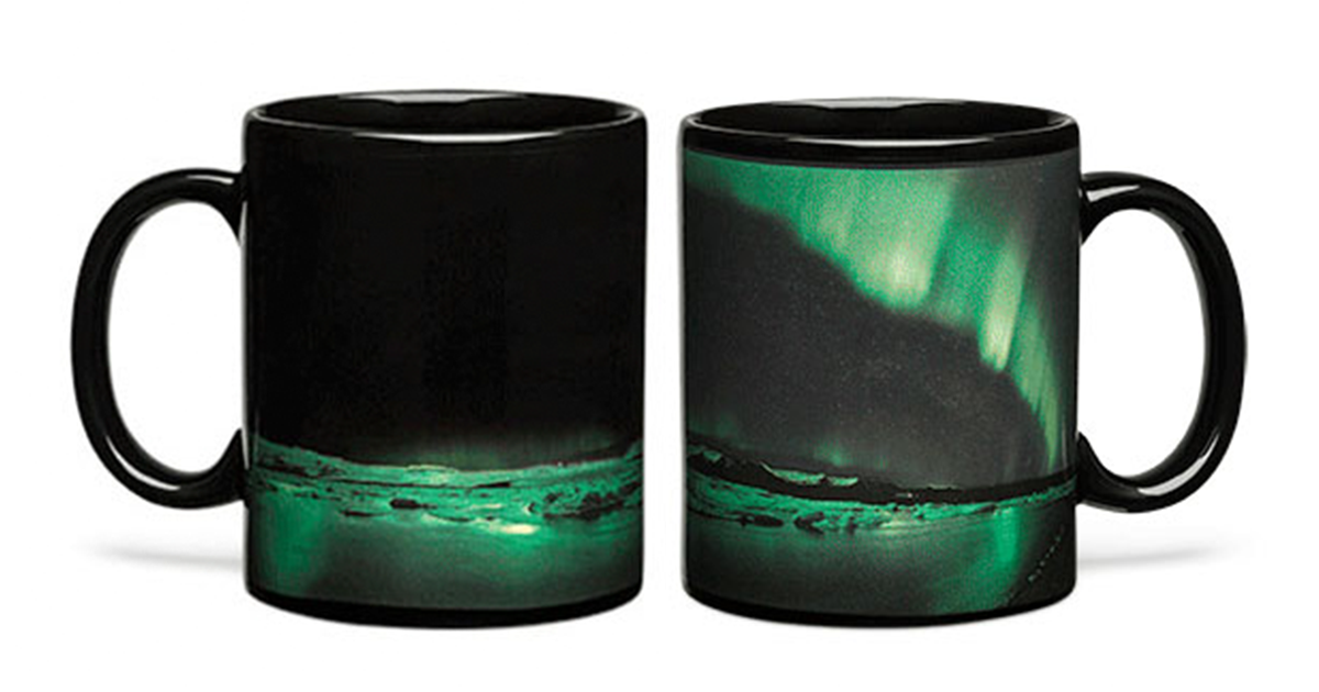 The northern lights are no longer the dominion of cold-blooded Canadians or Japanese tourists trying to have a lucky baby: effective immediately, Think Geek is bringing aurora borealis to your breakfast table in the for of a 12oz, thermal-sensitive, mug. Fill the mug with hot java, and watch the skies light up!
