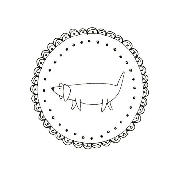 Hand Embroidery Dachshund Dog Wiener Dog By Teenytinyhappythings