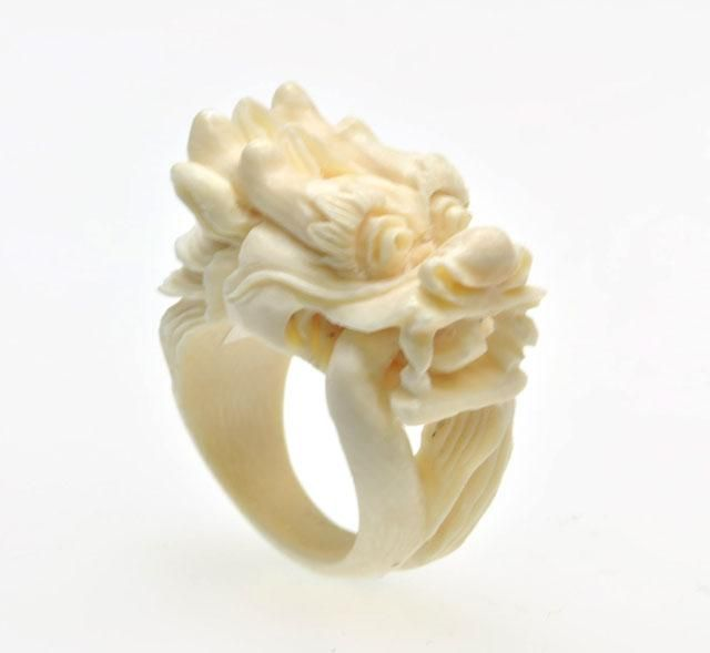 Carved Dragon Ivory Ring Jewelry Kingdom Ivory Ring Carving Bone Carving
