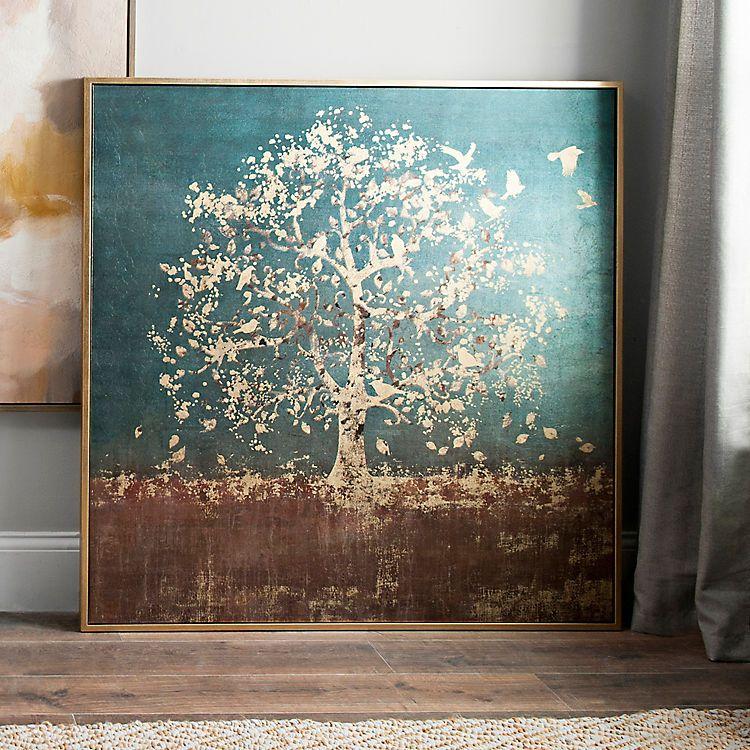 Golden Bird Tree Large Framed Canvas Art Print Kirklands Framed Canvas Art Canvas Art Abstract Painting