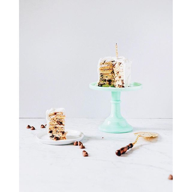 Chocolate Chip Pancake Layer Cake With Mascarpone Cream Icing