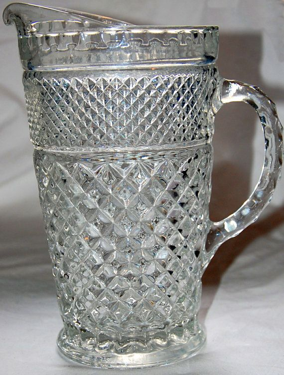 Lovely Vintage Anchor Hocking Pitcher Wexford Pattern Pitcher Glasses Antique Glass Pitcher