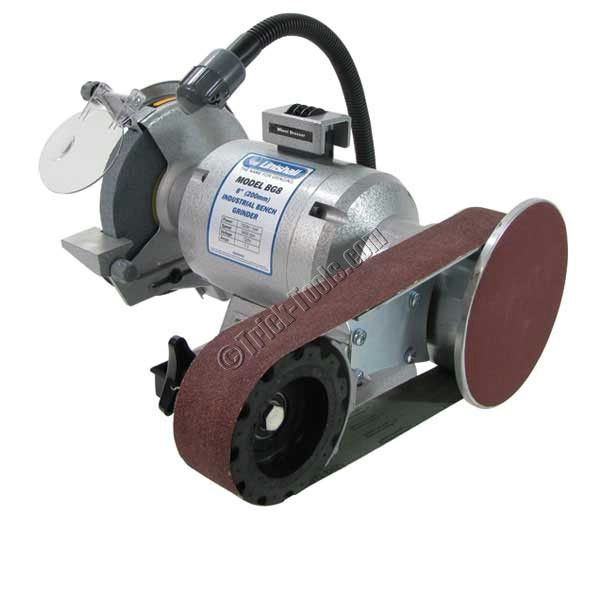 Linishall 8 Inch Hd Bench Grinder With Belt And Disc Grinding Attachment Bench Grinder Metal Working Tools Belt Sander