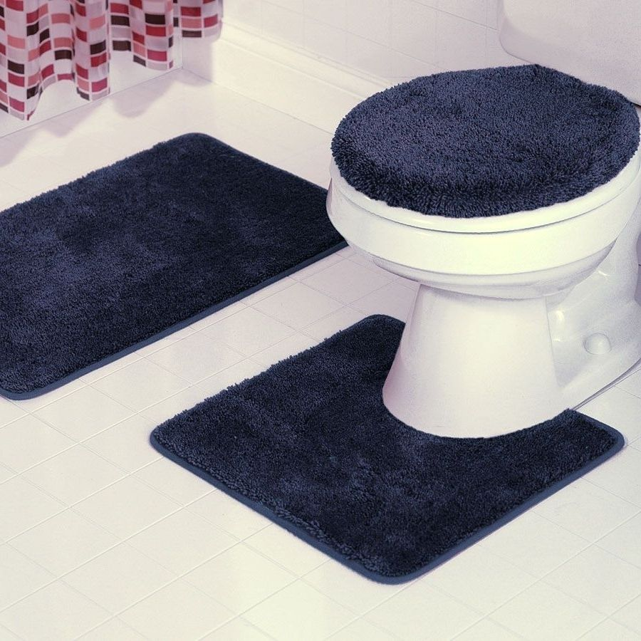 Navy Bathroom Rug Set