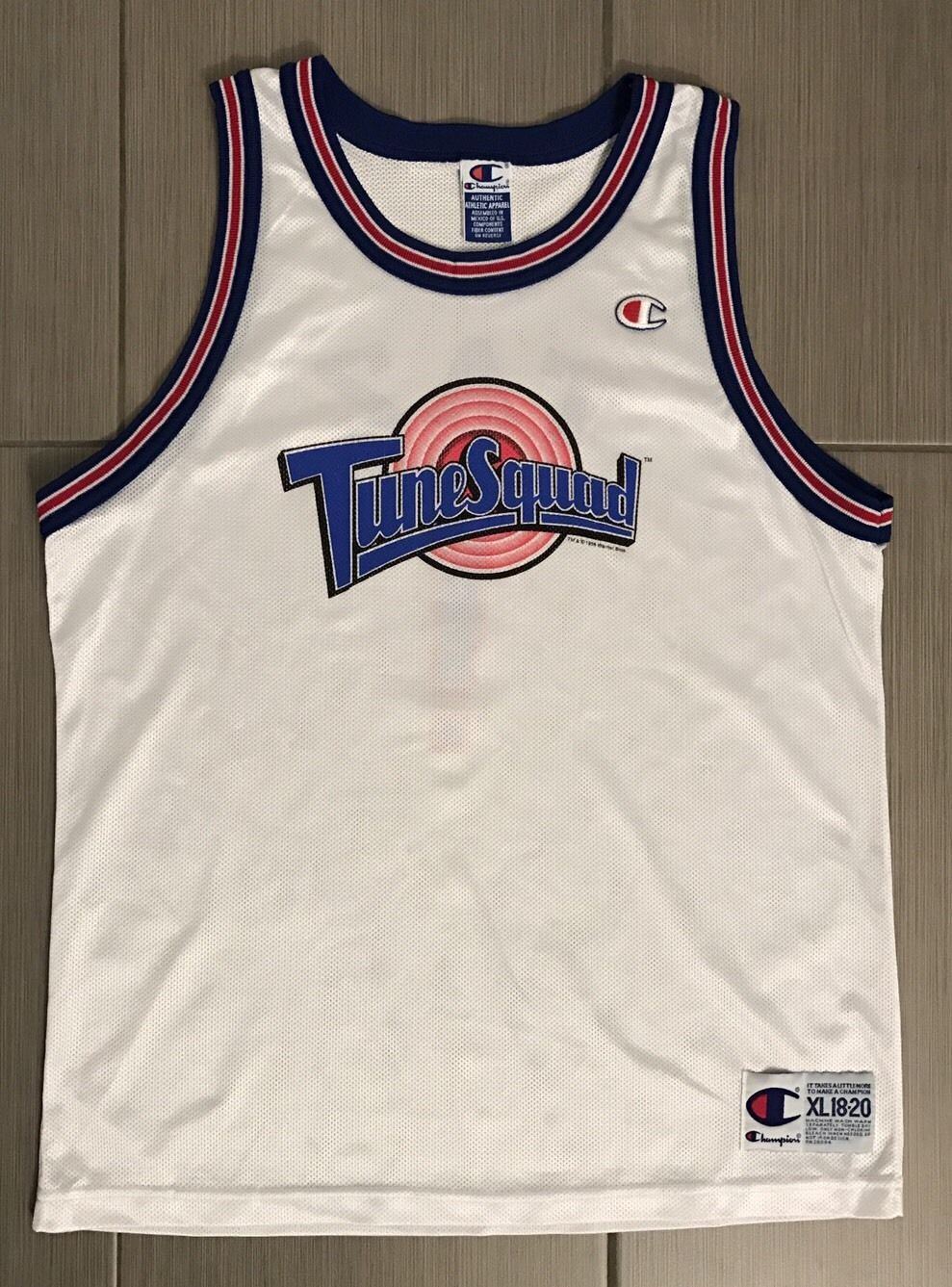 44db66909674e ... Vintage NWOT Champion SPACE JAM Taz Tune Squad Authentic 1996  Basketball Jersey ...