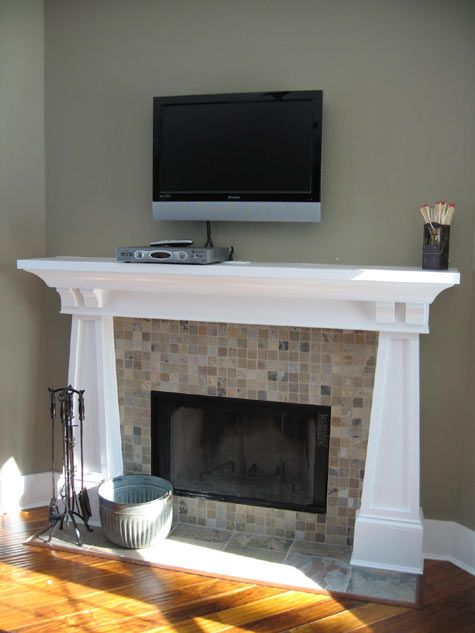 Family Room, Tiled Fireplace, Carved Wood Mantle, Wall Mounted Plasma TV;