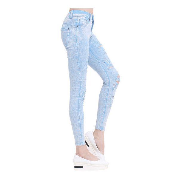 SheIn(sheinside) Light Blue Cut-out Slim Denim Pant ($22) ❤ liked on Polyvore