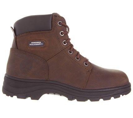 bd6de58a6033f Skechers Work Men's Workshire Relaxed Fit Memory Foam Steel Toe Work Boots  (Dark Brown) - 14.0 M