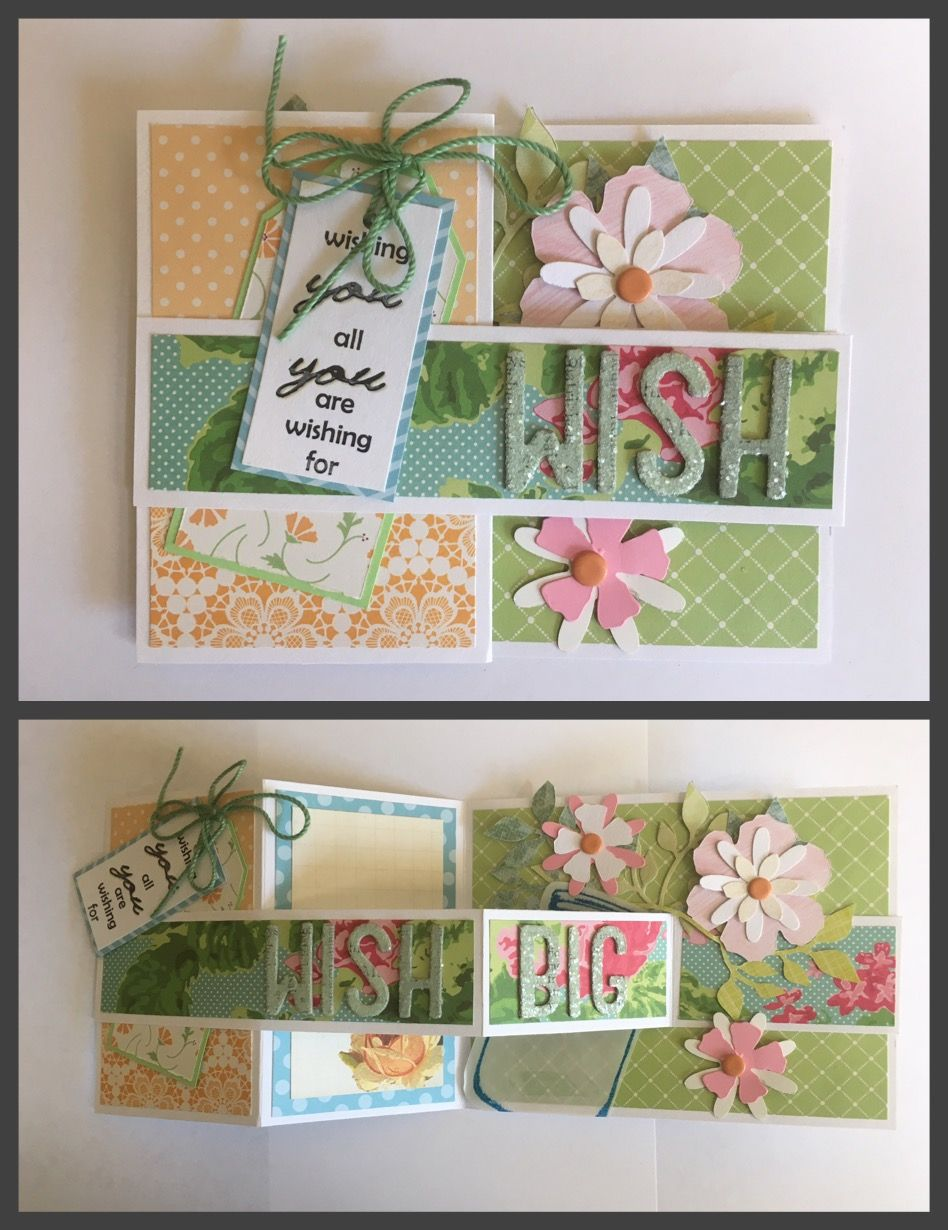 Z fold card design with expanded sentiment wish to wish big