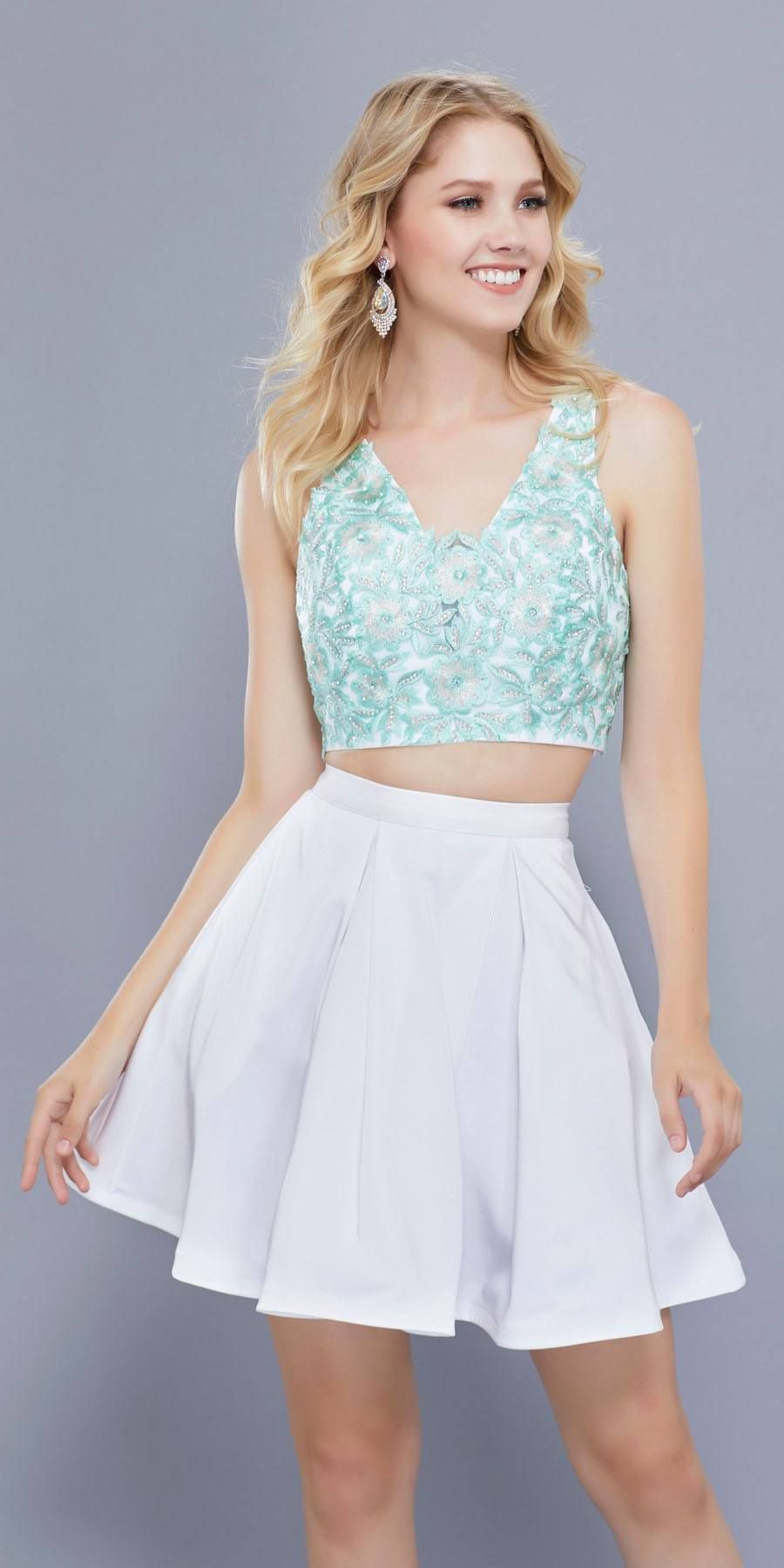 White-Peach V-Neck Two-Piece Homecoming Dress Appliqued Crop Top in ... 2f1e81121