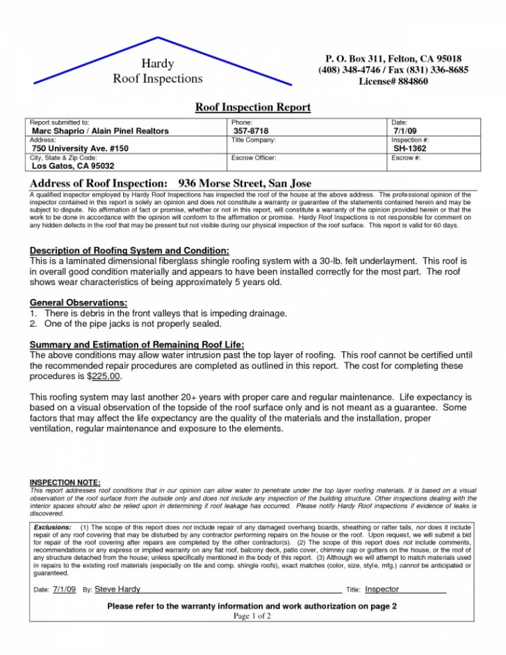 Roof Certification Template 9 Templates Example Templates Example Roof Inspection Report Template Book Report Templates
