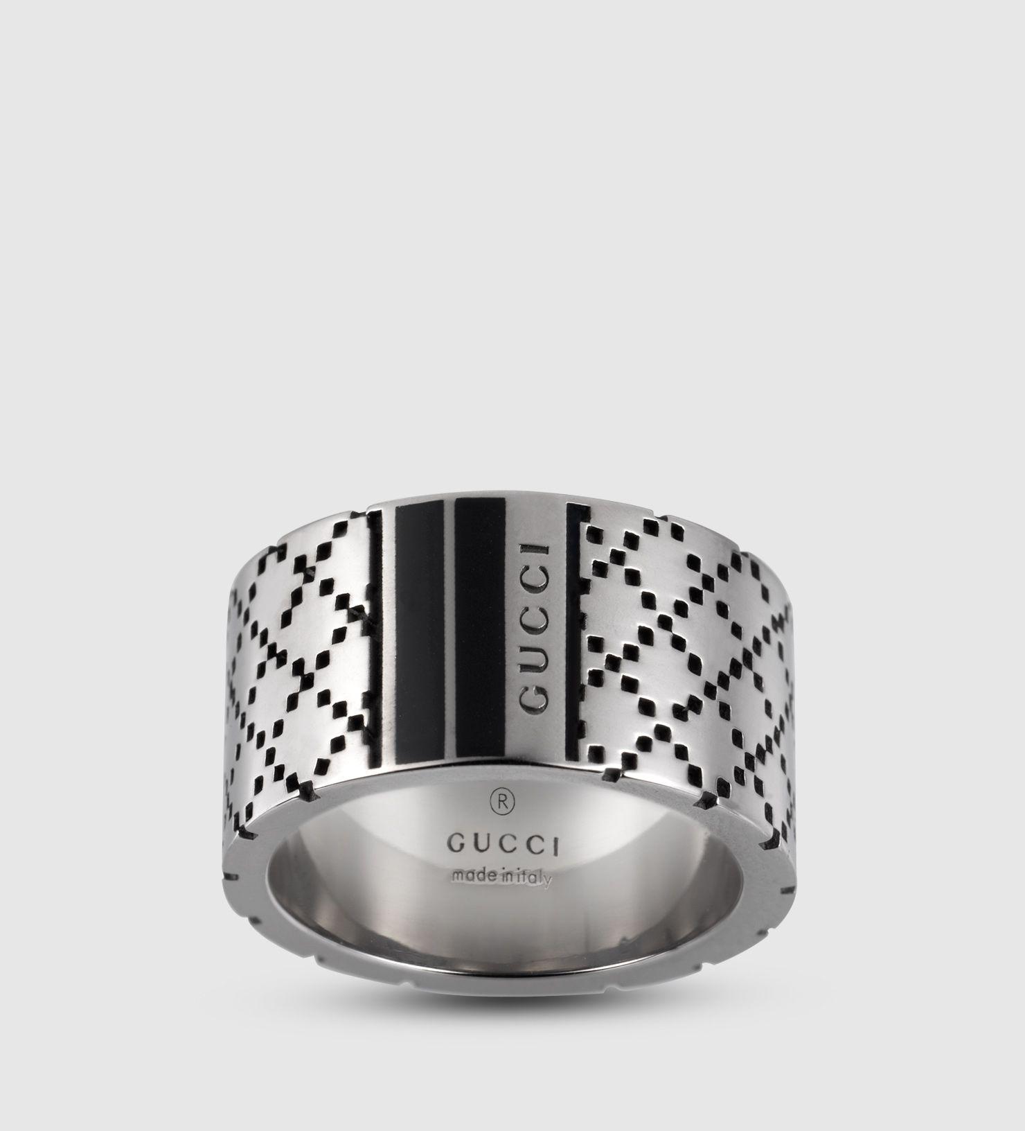 Gucci Diamantissima Silver Narrow Men S Ring