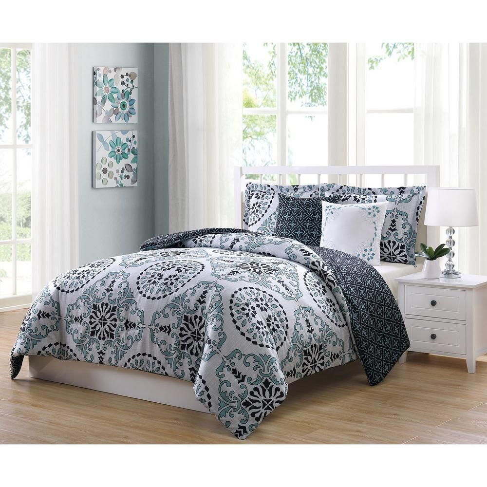 Ymf Bailey 5 Piece Blue Gray Black Full Comforter Set Comforter