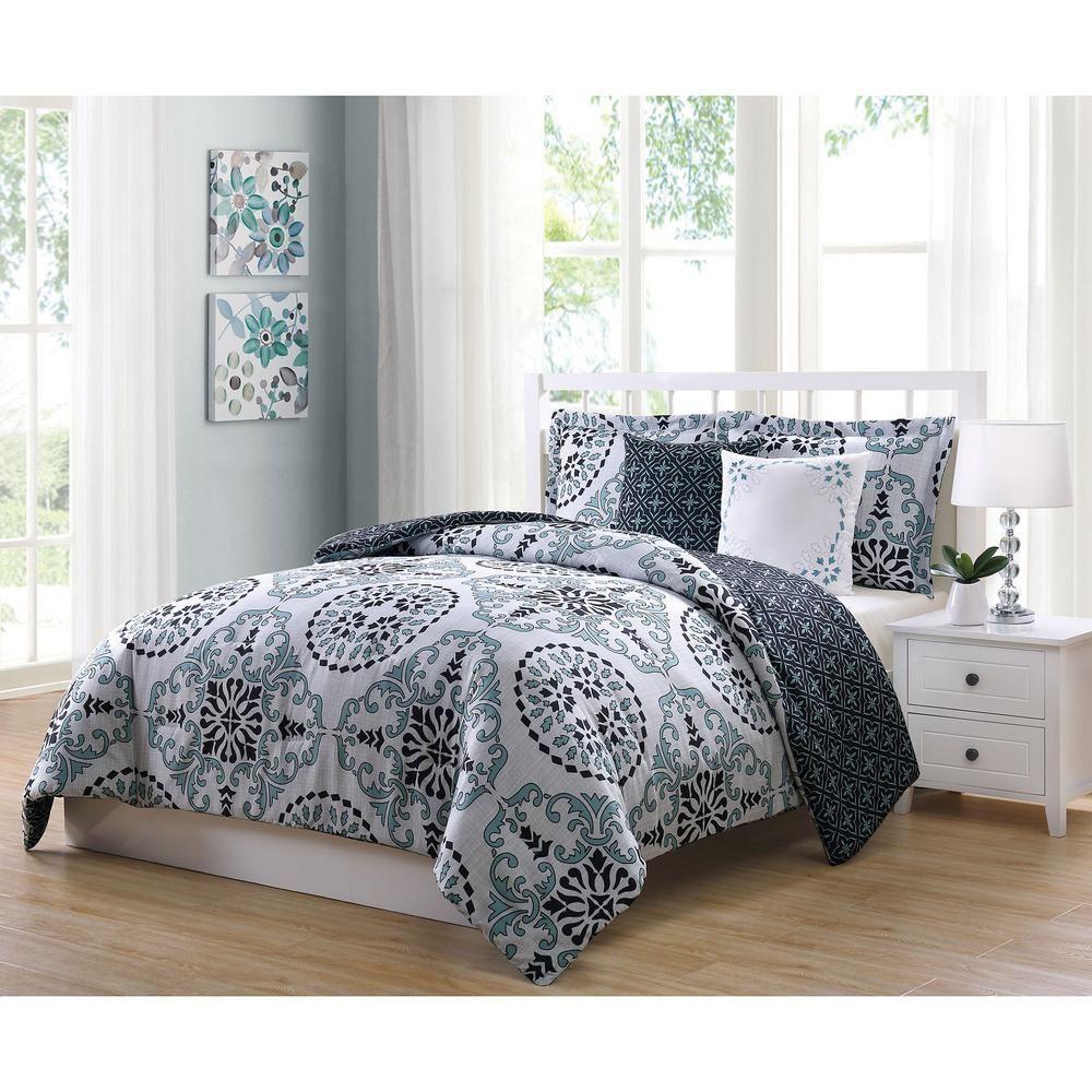 Bailey 5 Piece Blue Gray Black Full Comforter Set Ymz007994 Full