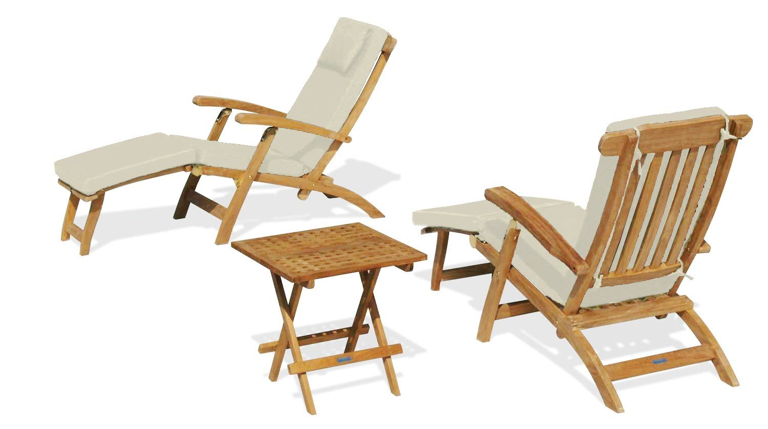 Two Serenity Outdoor Wooden Teak Steamer Chairs With Cushions And Picnic Garden Table Set Natural Jati Brand Quality V Garden Table Chair Outdoor Chairs