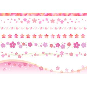 フリーイラスト ベクター画像 Ai 飾り罫線ライン 植物 花 花柄