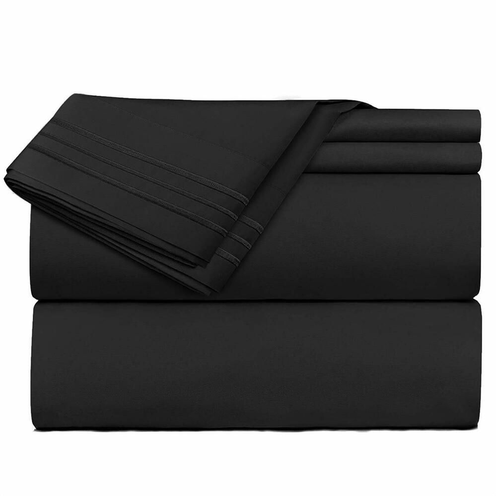 Bedding bed sheets set deep pocket fitted pillowcases twin