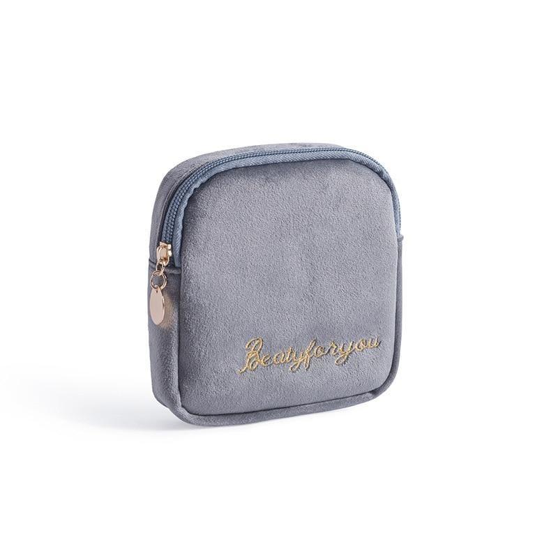 DOOZEEPA Damen Kosmetiktasche Weicher Samt Make Up Aufbewahrungstasche Pads Kulturbeutel Reise Make-Up Tasche Organizer Pouch Beauty Case – B3 – Grau