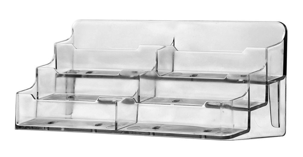 6 Slot Business Card Stand Clear Holder Flat Back 3 Tier Counter
