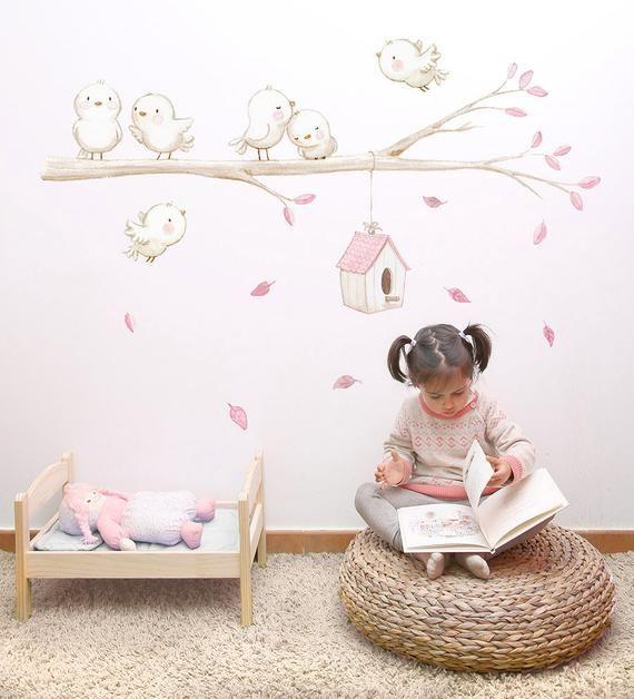 Tissu De Vinyle Pour Enfants Petit Oiseau Sur La Branche Vinyle