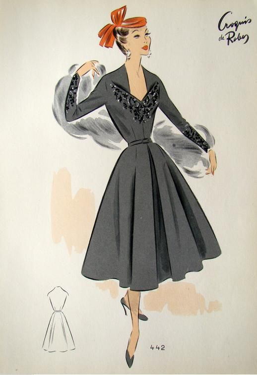1950s Fashion Design Sketch New Look Gown Fashion Illustration Vintage Fashion Design Vintage Fashion