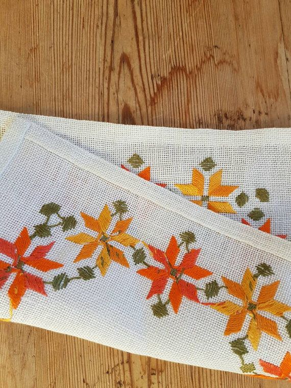 Beautiful embroidered tablecloth/dolly in white by Ingsvintage