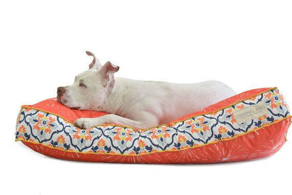 Orange Dog Bed Cover, Modern Pet Beds, Dog Bed Pillow, Washable Pet Bed Cover, Pet Bed Furniture for Dog or Cat, Small Medium Large Dog Beds  This listing is for a pet bed cover ONLY (the bed form is not included in this price)  This designer dog bed will add to your home decor instead of stick out like a sore thumb as most ordinary dog beds do. The goal of our pet beds is to satisfy both you and your pet without sacrificing the unique space that your dog or cat co-dwells in with you. We…