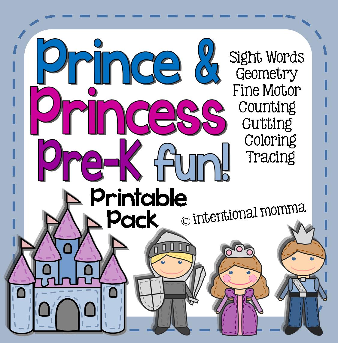Prince And Princess Printable Pre K Pack Tons Of