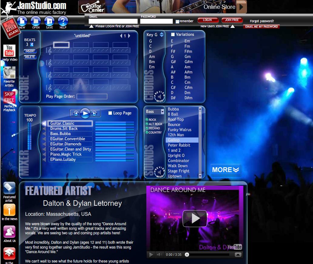 JamStudio is a free online mixer similar to Acid, Acid pro